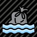 disaster, drowning, emergency, flood, rain, trash