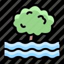 disaster, drowning, emergency, flood, rain, tree