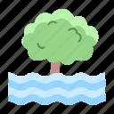 disaster, drowning, emergency, flood, rain, tree icon