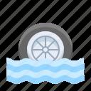 disaster, drowning, emergency, flood, rain, wheel icon
