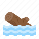 disaster, drowning, emergency, flood, rain, wood icon