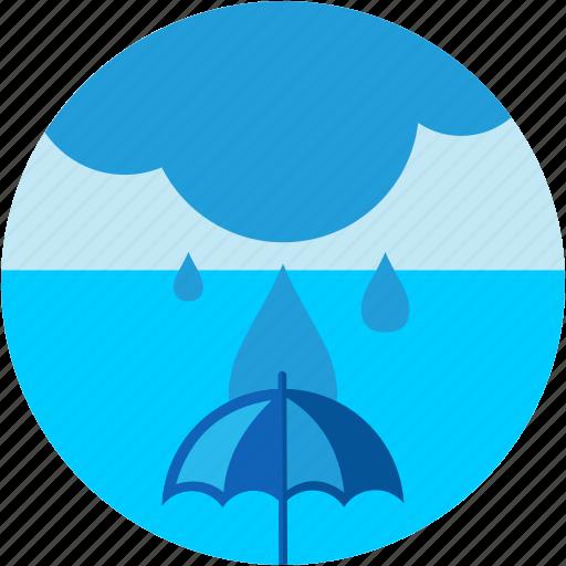 cloud, disaster, flood, umbrella, waterdrops icon