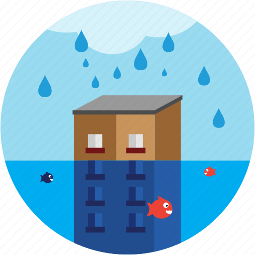 building, cloud, disaster, fish, flood, waterdrops icon