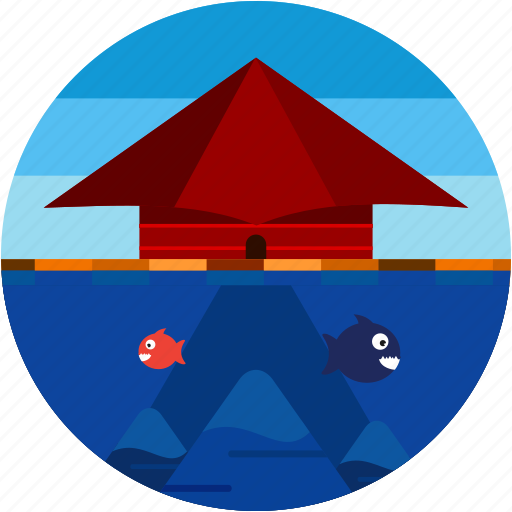 asia, building, disaster, fish, flood icon
