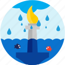 cloud, disaster, fish, flood, liberty, statue, waterdrops icon