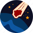 disaster, falling, meteor, stars, world icon