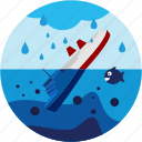 disaster, fish, sea, ship, sinking icon