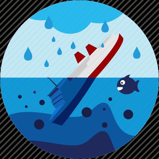 disaster, fish, sea, ship, sinking icon