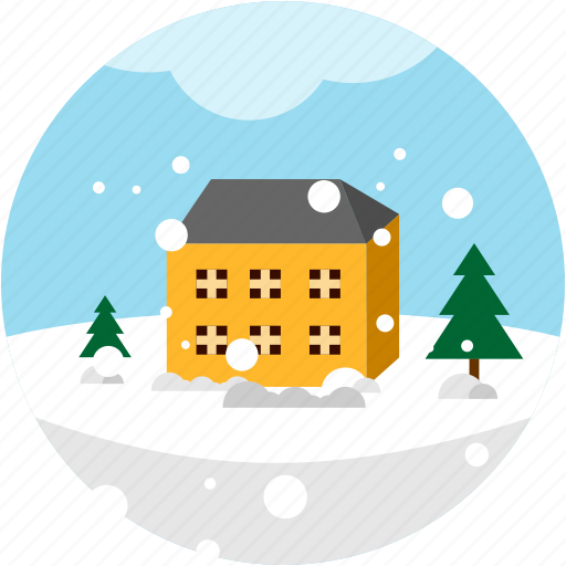 building, day, disaster, snow, storm, tree icon