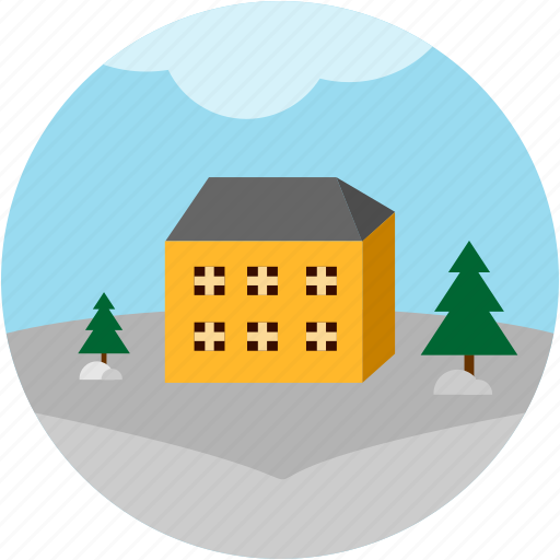 building, disaster, in, snowed, trees icon