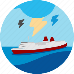 cloud, disaster, lightening, sea, storm icon