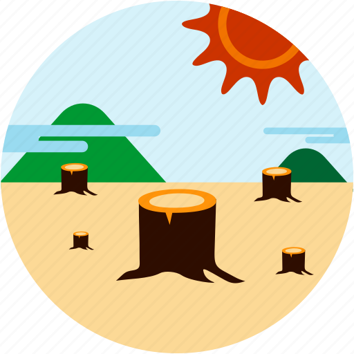 cut, disaster, down, dying, forest, sun, trees icon