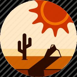 cactus, dessert, disaster, rock, shadow, sun icon
