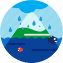 cloud, disaster, fish, flood, mountain, snowcap, waterdrops icon