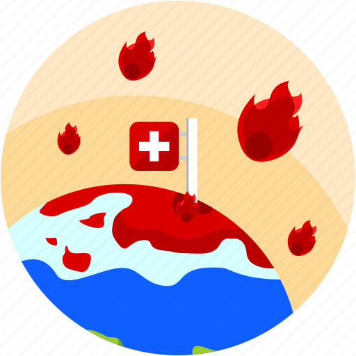 disaster, fire, flag, global, swiss, warming icon