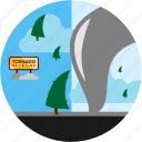 disaster, hurricane, road, sign, snow, tornado, trees icon