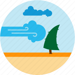 coud, disaster, gust, strong, tree, wind icon