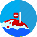 disaster, flag, global, pole, swiss, warming icon