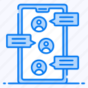 cell phone conversation, chatting, discussion, group chat, messaging, mobile communication icon