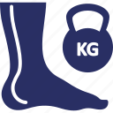 kg, feet, dumbell, foot, kg stone icon