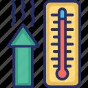 rise, scale, temperature, thermometer, thermometer heat icon