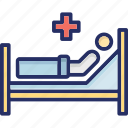 hospital bed, medical, medical treatment, patient, sick icon
