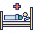 hospital, hospital bed, medical, medical treatment, patient icon