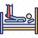 broken leg, hospital, hospital bed, medical, medical treatment icon