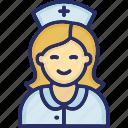 hospital, medical, nurse, nursing, woman doctor icon