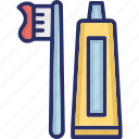 bathroom, hygiene, tooth, toothbrush, toothpaste icon