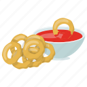 bacon ranch, onion rings with dipping sauce, oven fried onion rings, vegan onion ring dipping sauce icon