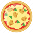 fast food, italian pizza, italian traditional dish, mushrooms pizza, school lunch icon