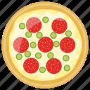fast food, italian pizza, italian traditional dish, jalapeno pepper pizza, school lunch icon