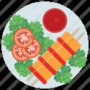 barbecue, bbq skewers, chicken shashlik sticks, non vegetarian food, shashlik skewers icon
