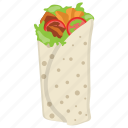 bread rolls, chicken tortilla wrap, tortilla wraps, tortilla wraps filling, vegetarian tortilla wraps icon