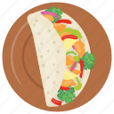 beef, cheese, coconut, crunchy, lettuce, taco icon