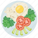 fried egg salad, healthy salad, organic food, salad for breakfast, weight loss diet