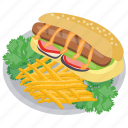 chili dog, french fries corn dog, hot dog and french fries, hot dog with fries, sausage burger icon