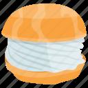 cheeseburger, cheeseburger calories, fast food, hamburger, round bread sandwich icon