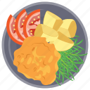 crispy fried chicken, deep fried, evening snack, fast food, kids cuisine icon
