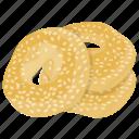 greek bread, greek koulouri bread, greek sesame bread, sesame bread calories, sesame bread rings icon