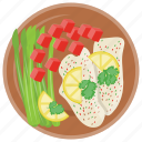 healthy salad, organic food, plate, sushi salad, weight loss food icon