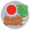 appetizer dish, bacon skewers, barbecue, red dipping sauce, skewers of glory icon