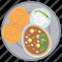 breakfast food, desi breakfast, homemade breakfast, morning meal, sesame bread icon