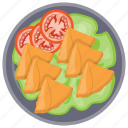 chicken samosa, indian samosa, samosa, snacks, vegetable samosa icon