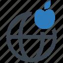 education, apple, global icon