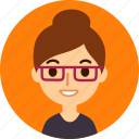 woman, avatar, female, face, caucasian, glasses, professional icon
