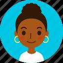 woman, avatar, female, face, girl, black, hoop earrings