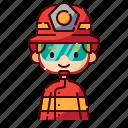 avatar, blonde, boy, diversity, firefighter, people, profession