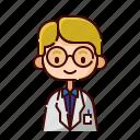 avatar, blonde, boy, diversity, people, profession, professor icon